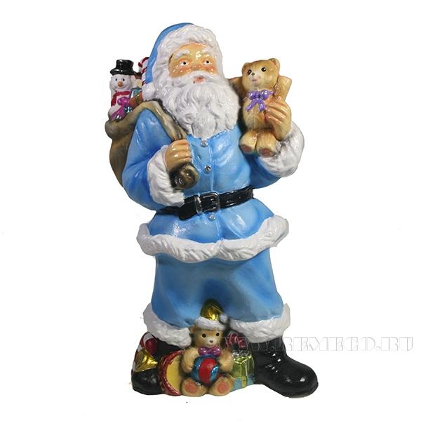 Фигура декоративная Санта с игрушечным мишкой в руке (цвет голубой)L10W13H25см оптом
