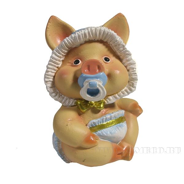 Фигура декоративная Свинка Кроха (вид №2)L6.5W5H9.5 оптом