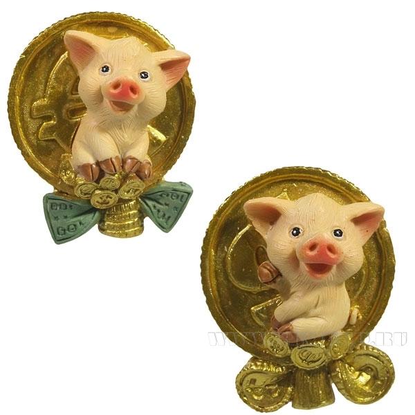 Магнит Свинка и золотой бакс , Свинка и золотой евро , L4W2,5H5.5, 2в. оптом