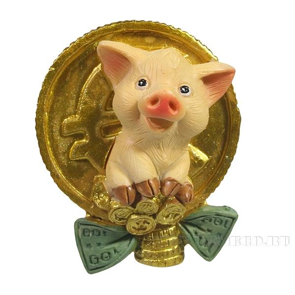 Магнит Свинка с Евро L4W2,5H5.5 оптом