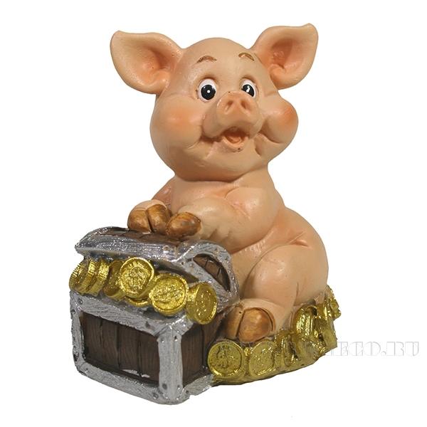 Фигура декоративная Свинка с сундуком L5,5W3.7H6.7 оптом