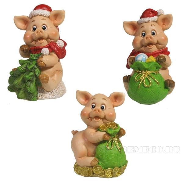 Фигура декоративная Свинка с мешком , Свинка с ёлкой , L5W4,5H7, 3в. оптом