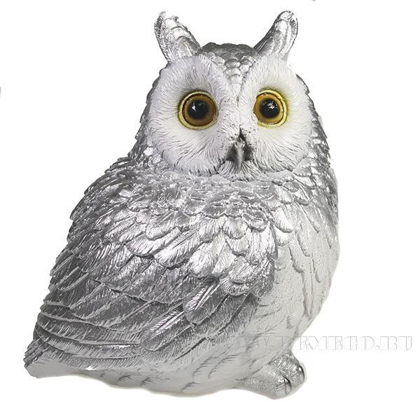 Фигура декоративная Сова (серебро)L14W13H18.5 оптом