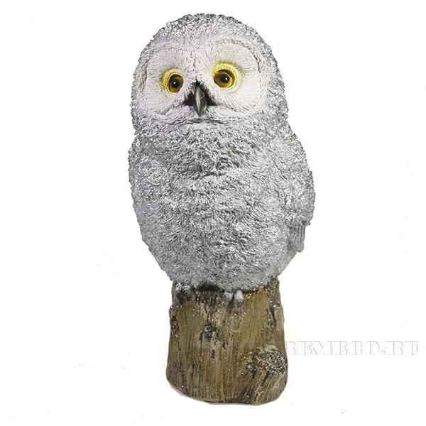 Фигура декоративная Сова на пеньке (серебро)L10,5W12,5H25 оптом