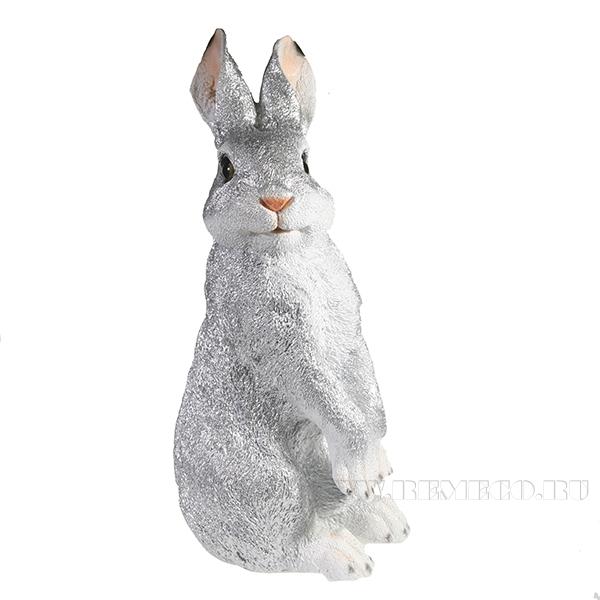 Фигура декоративная Заяц (серебро) L13W16H38 оптом