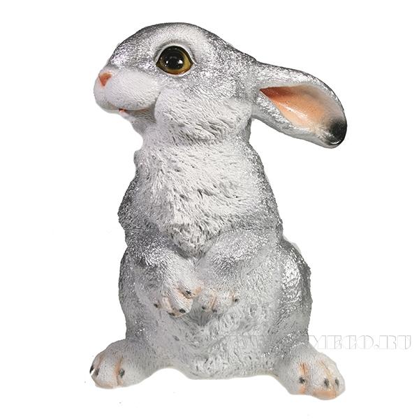 Фигура декоративная Заяц (серебро) L16W13,5H24 оптом