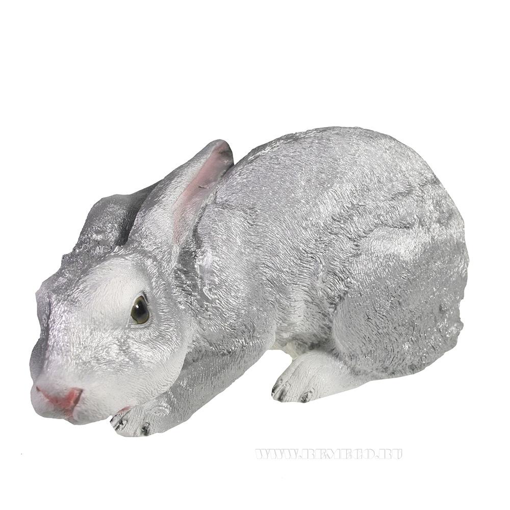Фигура декоративная Заяц (серебро) L32,5W13,5H15 оптом