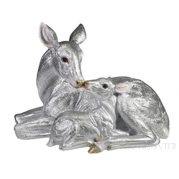 Фигура декоративная Олениха с олененком (серебро)l33W15.5H25 оптом