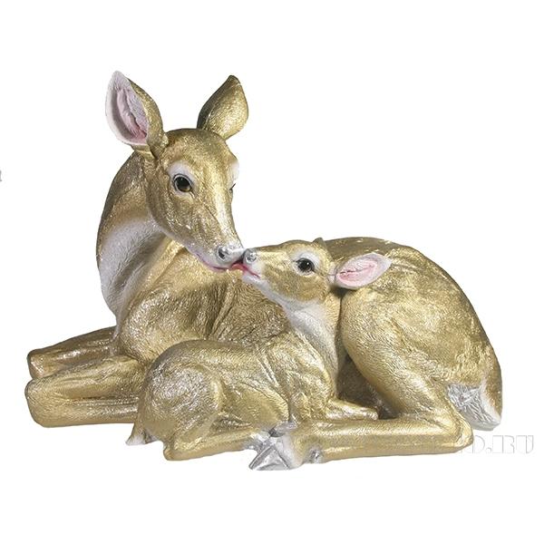 Фигура декоративнаяОлениха с олененком(золото)l33W15.5H25 оптом