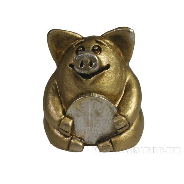 Фигура декоративная Свинка рубль бережет (золото)L4.5W5H5 оптом