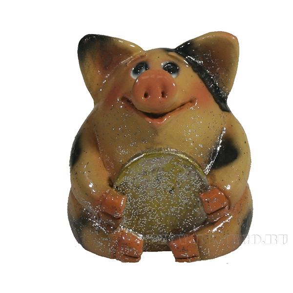 Фигура декоративная Свинка рубль бережет (вид №2)L4.5W5H5 оптом