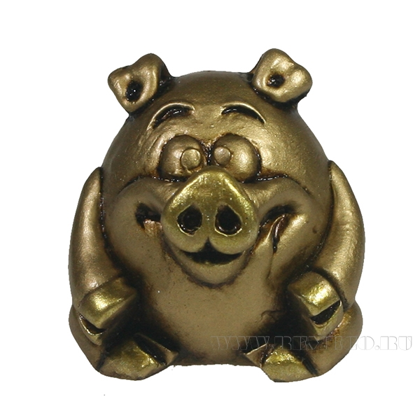 Фигура декоративная Поросенок Хепи (золото)L3.5W3.5H4 оптом