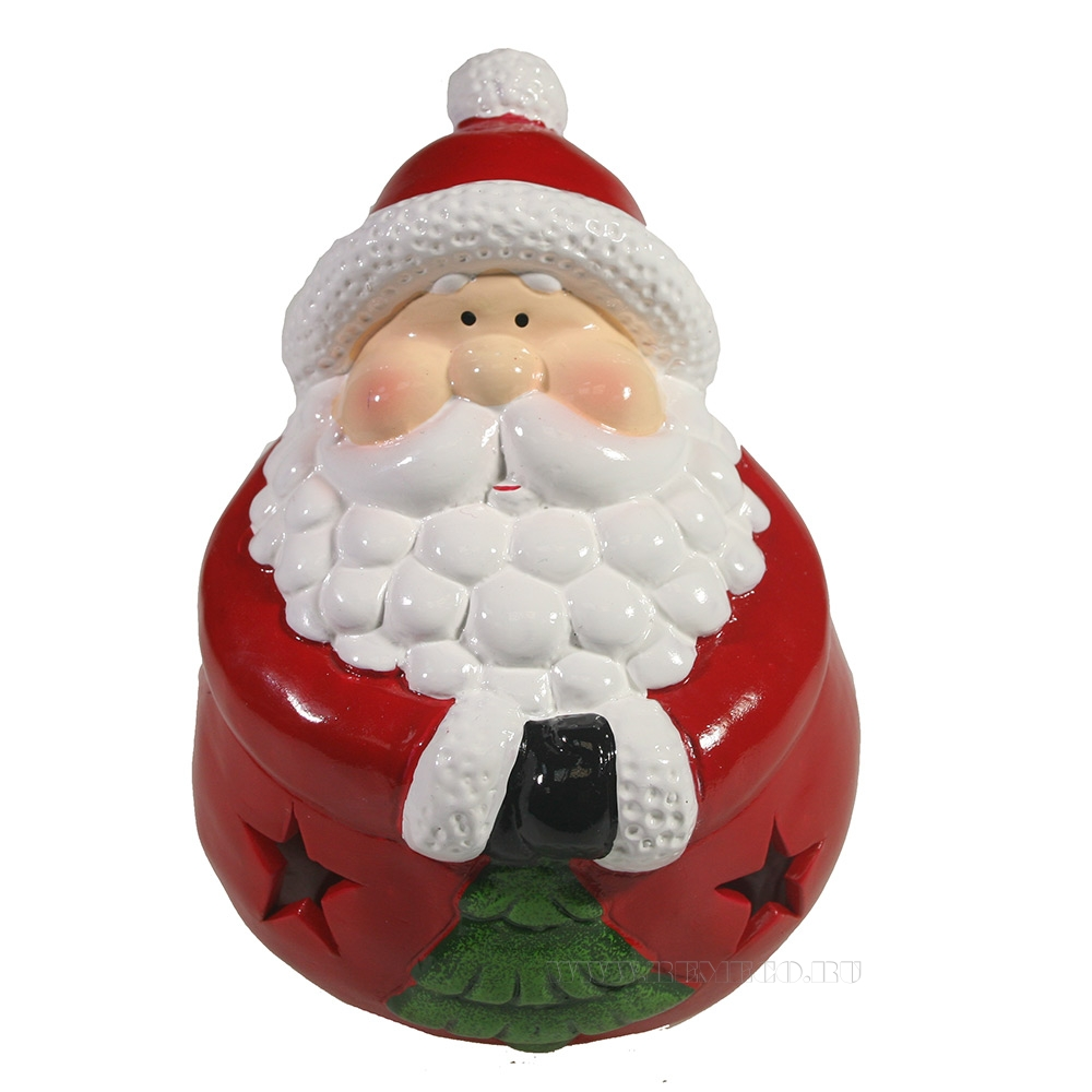Фигурка декоративная со светодиодной подсветкой Дед Мороз с елкой L15W14H15.5 оптом