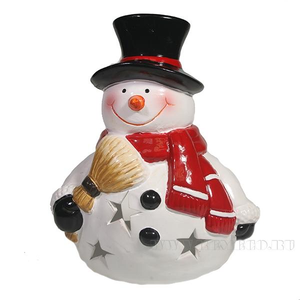 Фигурка декоративная с светодиодной подсветкой Снеговик с метлой L15W14H16 оптом
