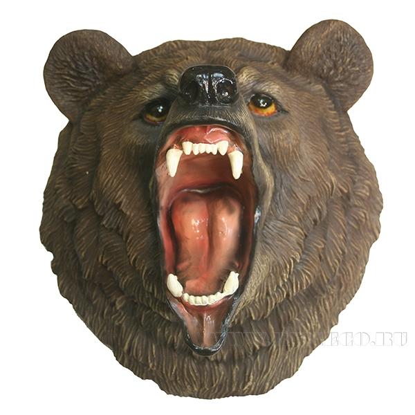 Фигура декоративная навесная Голова свирепого медведя L28W41H41см оптом