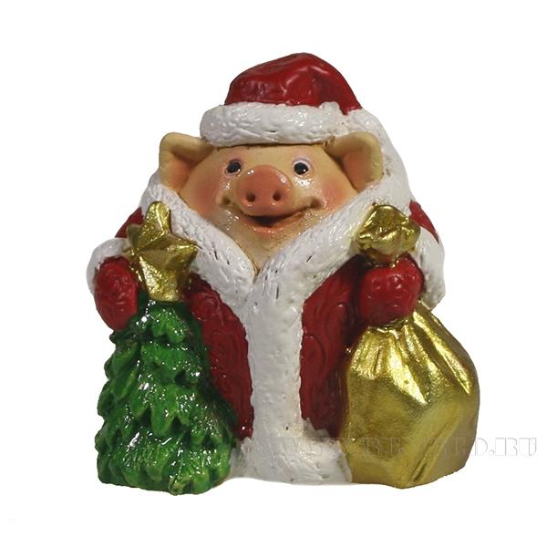 Фигура декоративная Свинки новый год идет (вид№2)L4.5W5H5 оптом