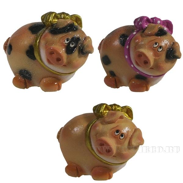 Фигура декоративная Свинка Нюшка , L6.5W5.5H4, 3 в. оптом