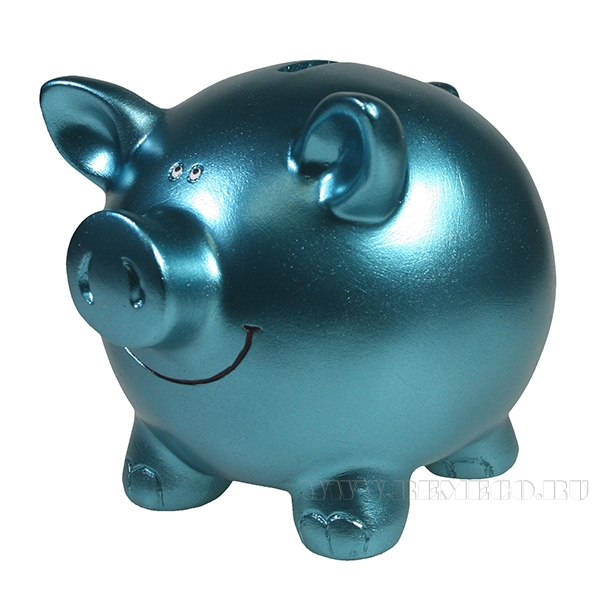Копилка Свинка L15.5W12H11.5 (бирюза) оптом