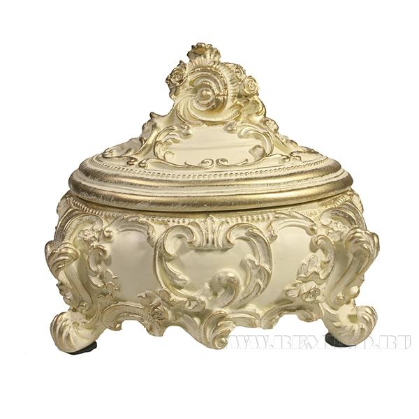 Изделие декоративное Шкатулка(цвет слоновая кость золото)L16W13H14см оптом