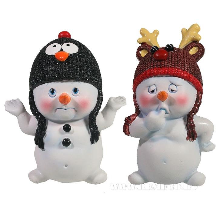 Фигура декоративная Снеговик в шапочке , L8.5W7.5H11.5, 2в. оптом