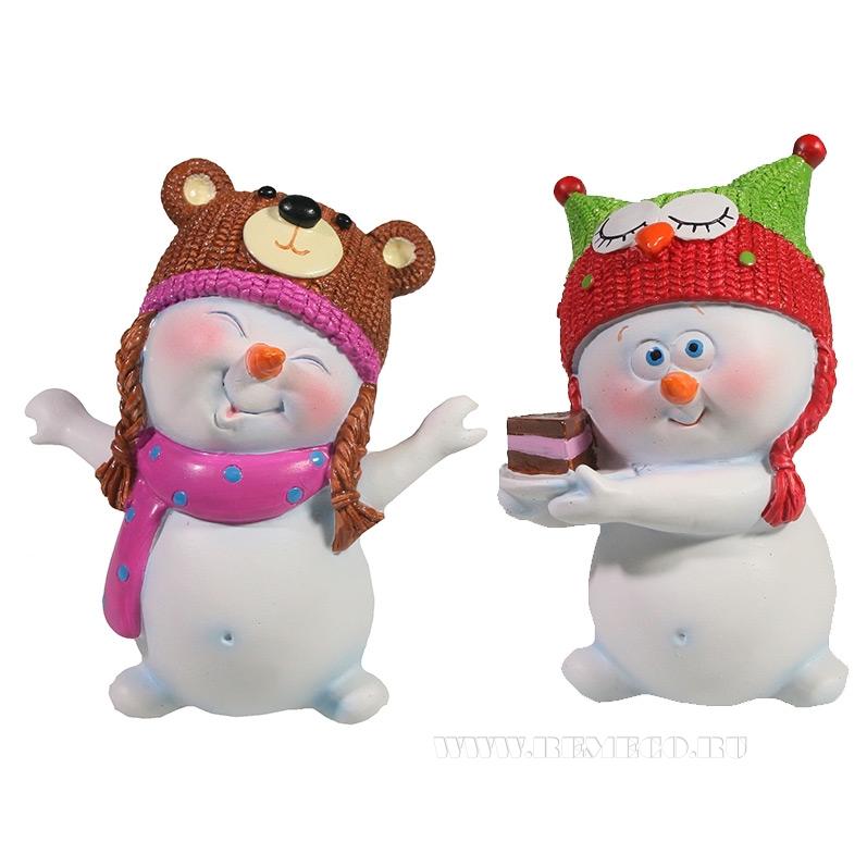 Фигура декоративная Снеговик в детской шапочке , L8,5W7.5H11.5, 2в. оптом