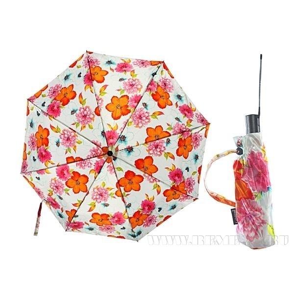 Зонт 2320 (Атласный, Цветы на белом фоне) оптом