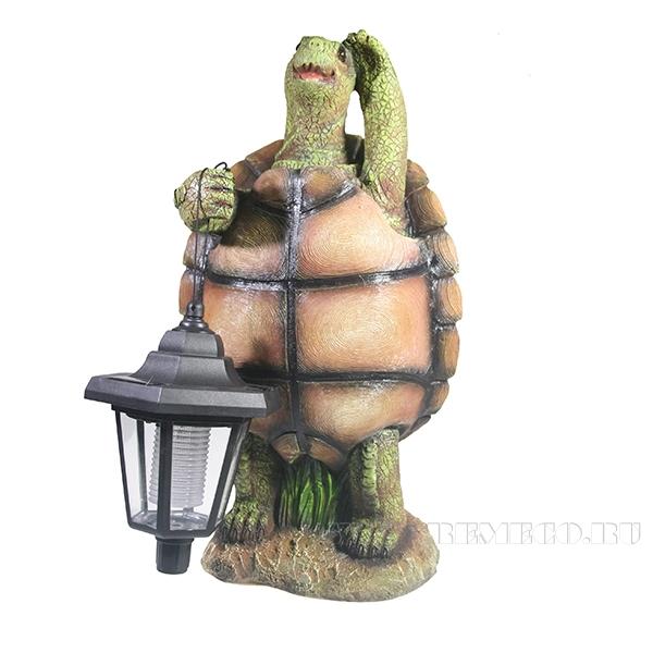 Фигура декоративная садовая Черепаха с фонаремL20W18H37см оптом