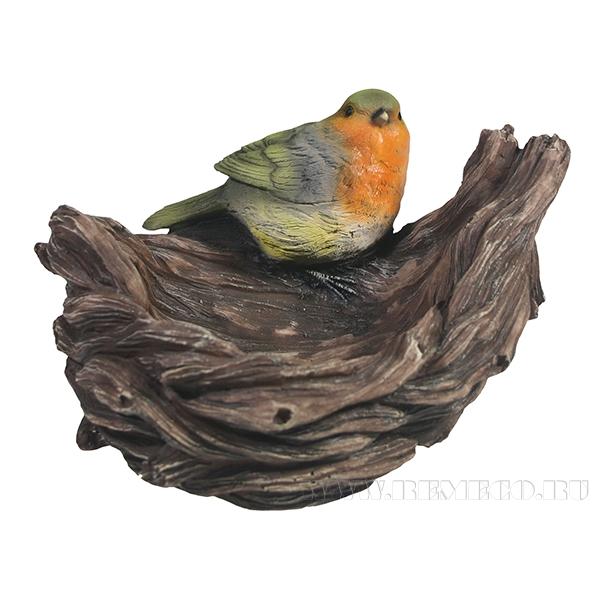 Изделие декоративное Кормушка-гнездо с птичкой L18W17H12см оптом