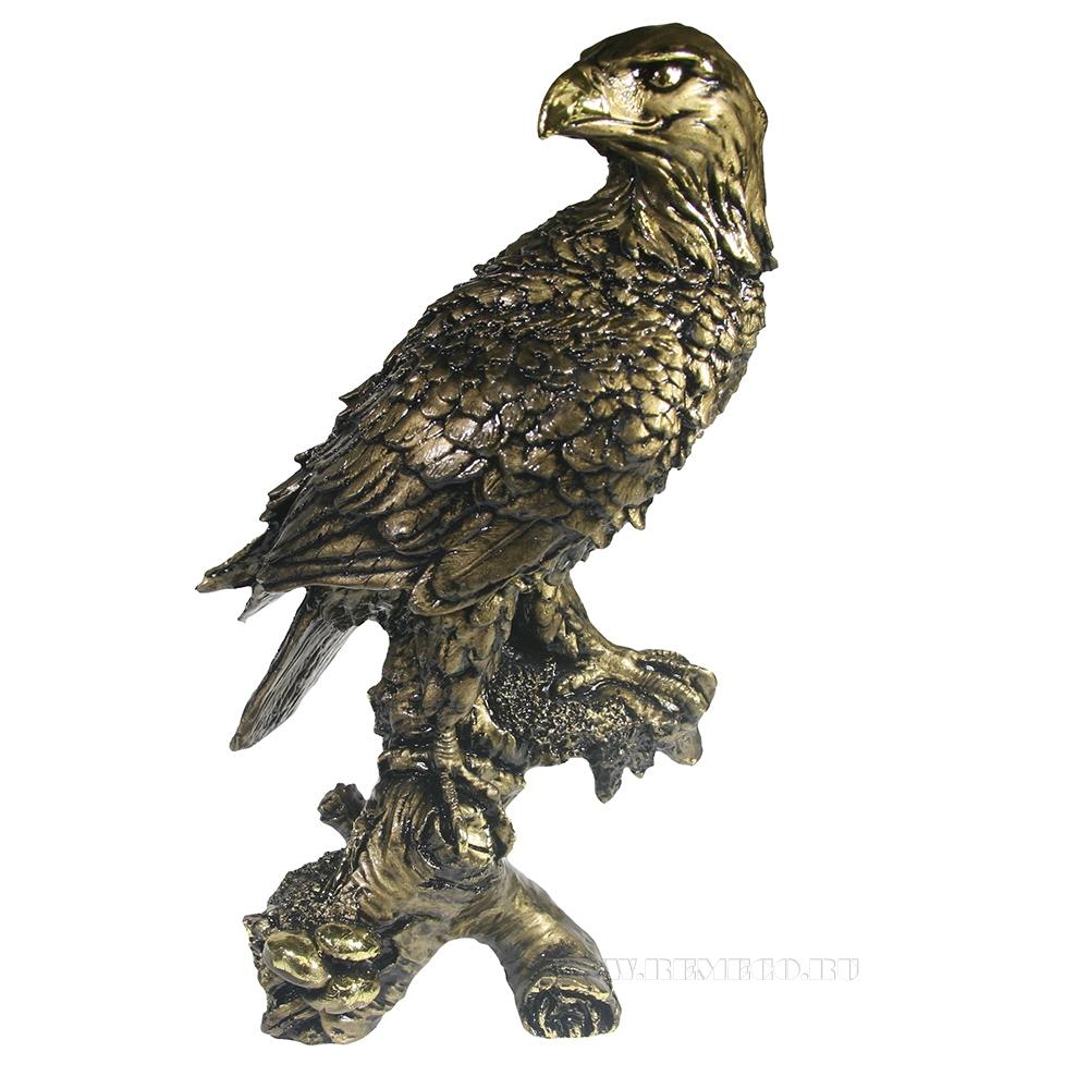 Фигура декоративная садовая Орел на коряге (золото) H32 см оптом