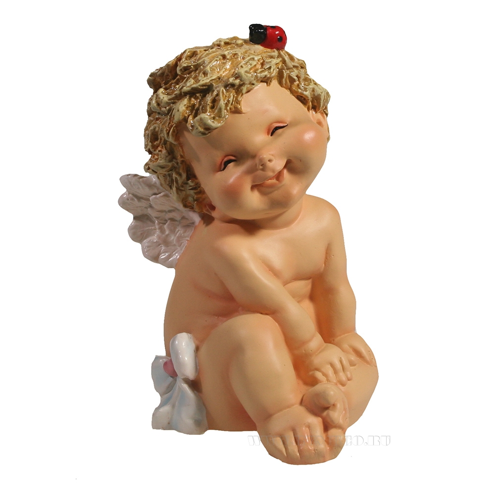 Фигура декоративная Ангелочек с божьей коровкой L10W9H15см оптом