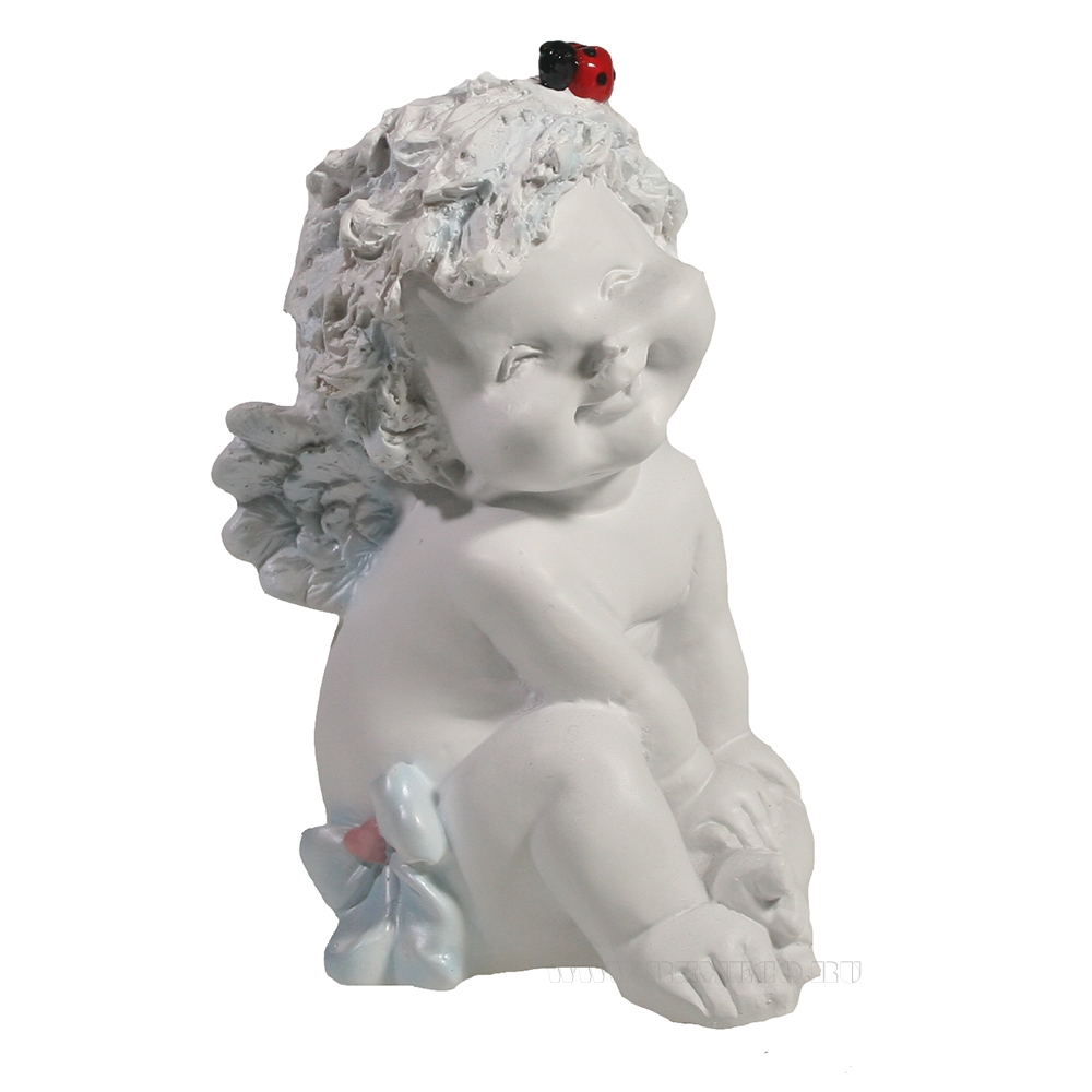 Фигура декоративная Ангелочек с божьей коровкой (белый)  L10W9H15см оптом