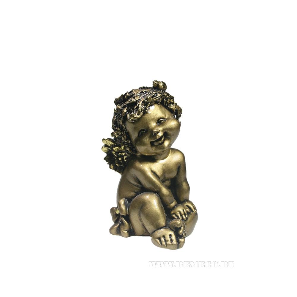 Фигура декоративная Ангелочек с божьей коровкой (золото) L10W9H15см оптом