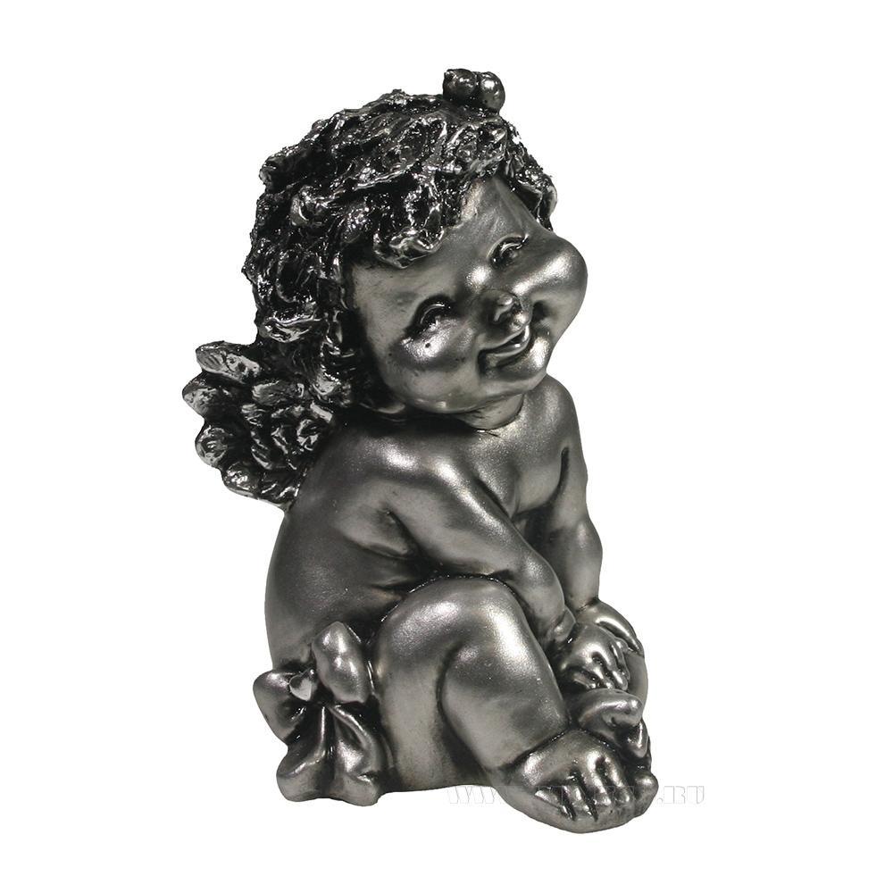 Фигура декоративная Ангелочек с божьей коровкой (серебро) L10W9H15см оптом