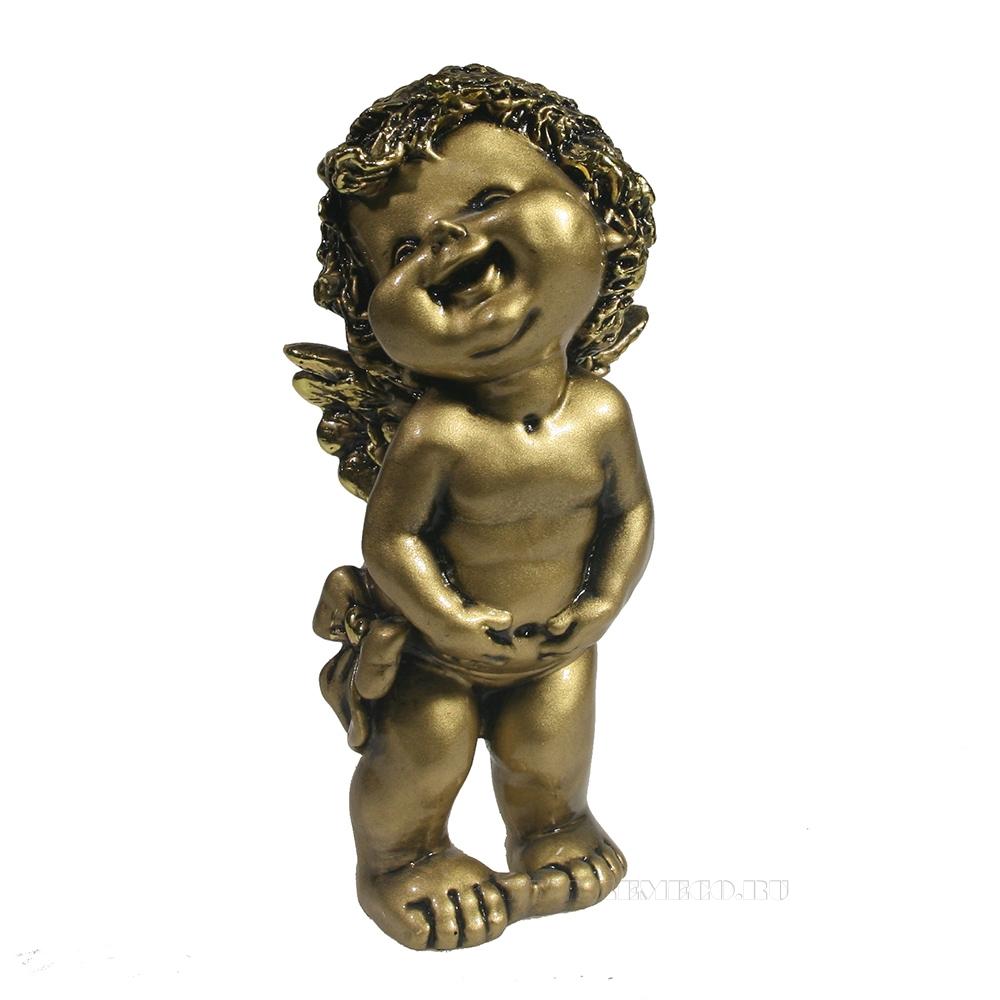 Фигура декоративная Счастливый ангелочек (золото) L7W8H18 см оптом