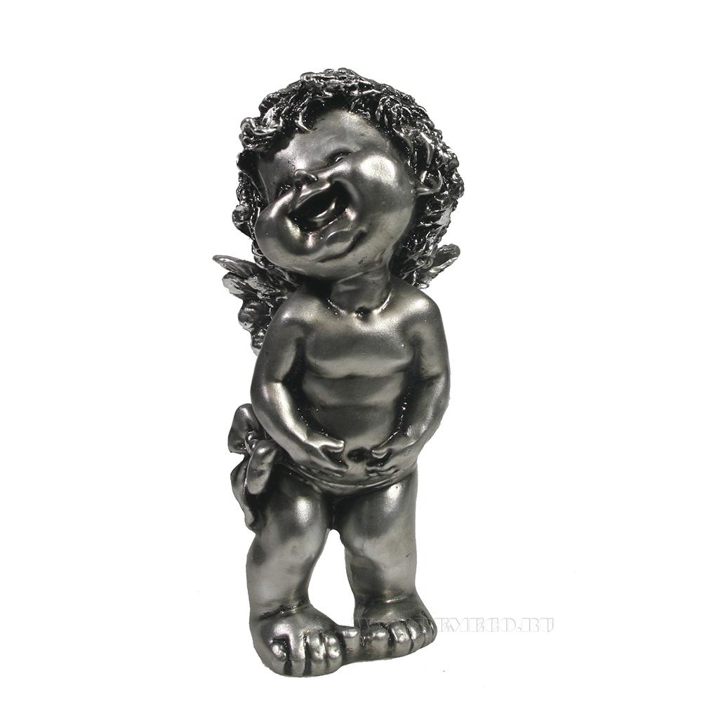 Фигура декоративная Счастливый ангелочек (серебро) L7W8H18 см оптом