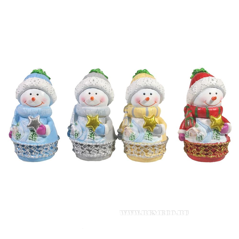 Фигура декоративная Снеговик 4в L5W5H9 оптом