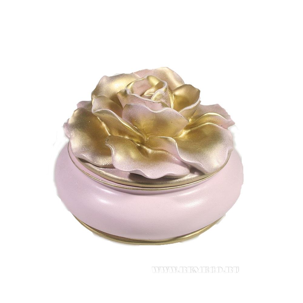 Изделие декоративное Шкатулка (цвет розовый)L13W13H9 оптом