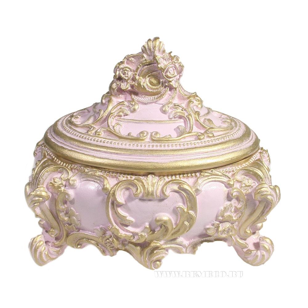 Изделие декоративное Шкатулка(цвет розовый)L16W13H14см оптом