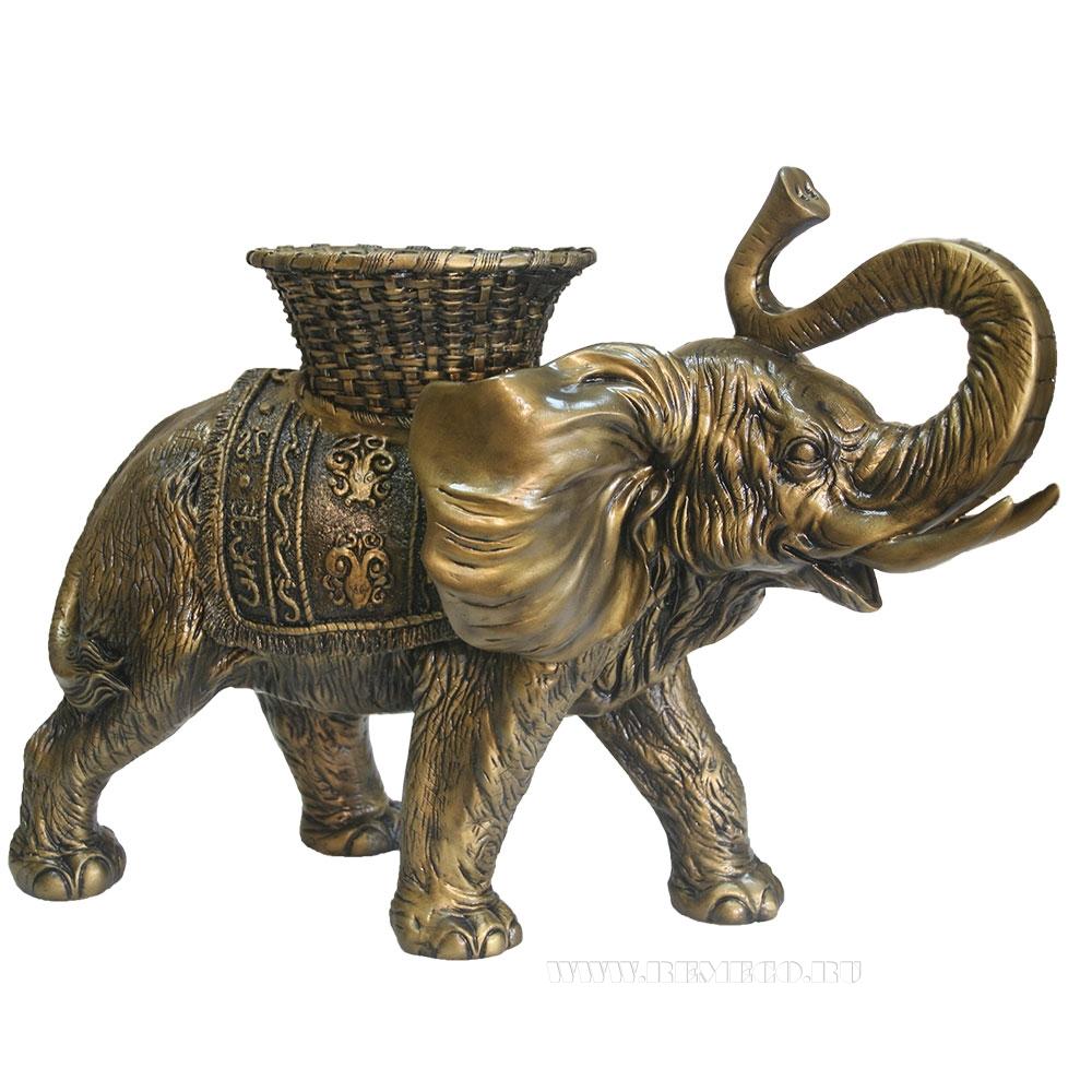 Фигура декоративная  Слон с кашпо на спине (золото)L65W32H47 оптом