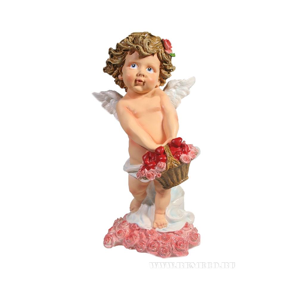 Фигурка декоративная Ангел хранящий любовь (розовые розы), L11,5W10,5Н22,5см оптом