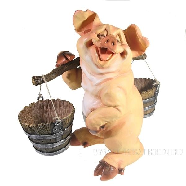 Фигура декоративная Свинка с коромыслом (без пятен), L22W19H34 оптом