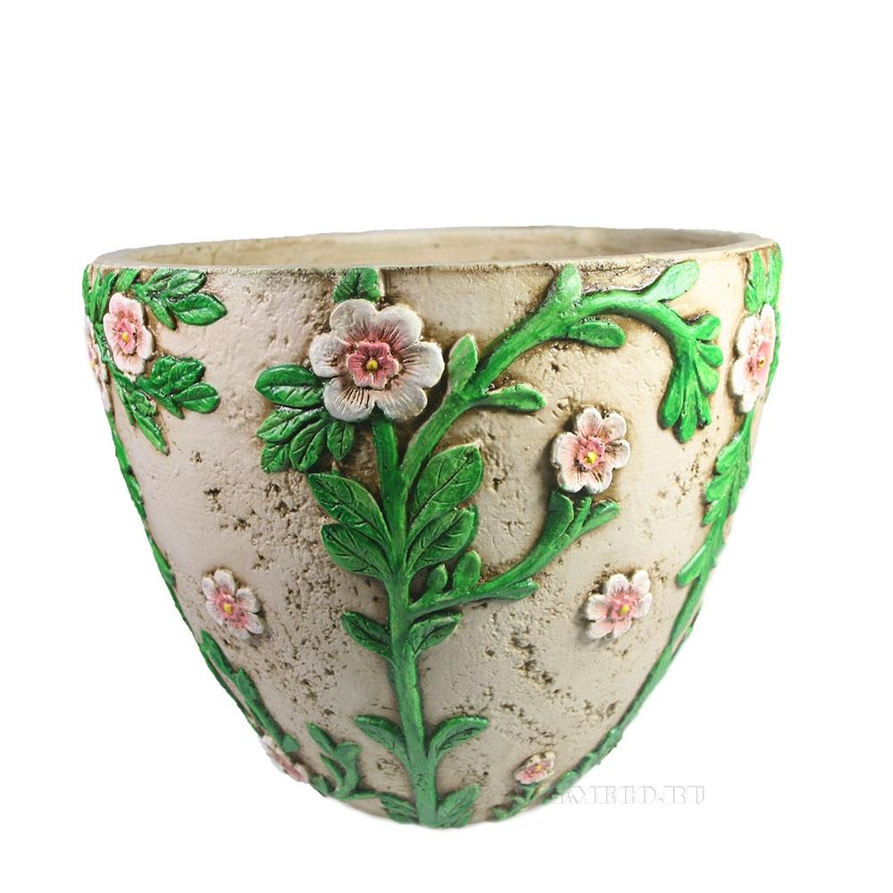 Кашпо декоративное Горшок украшенный цветами D36H26 оптом