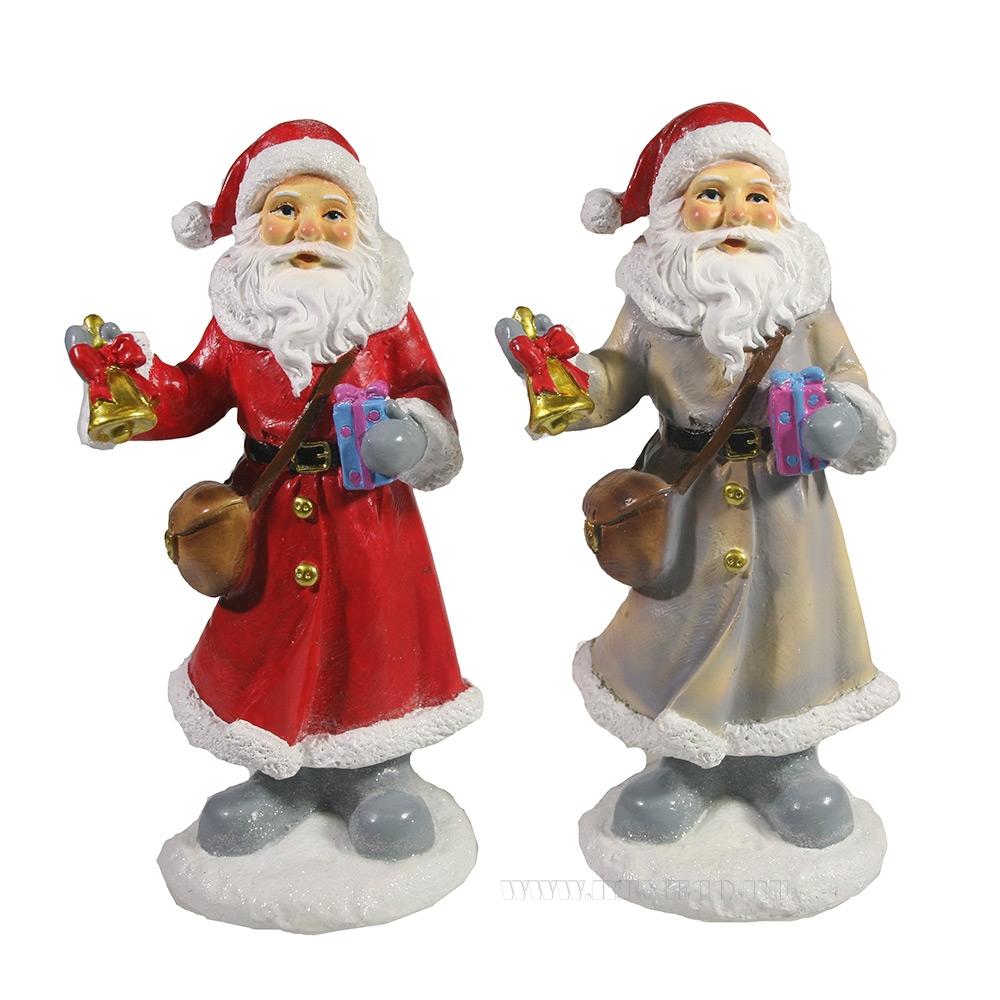 Фигурка декоративная Дед Мороз с колокольчиком и подарком , L8 W6,5 H17 см, 2 в. оптом