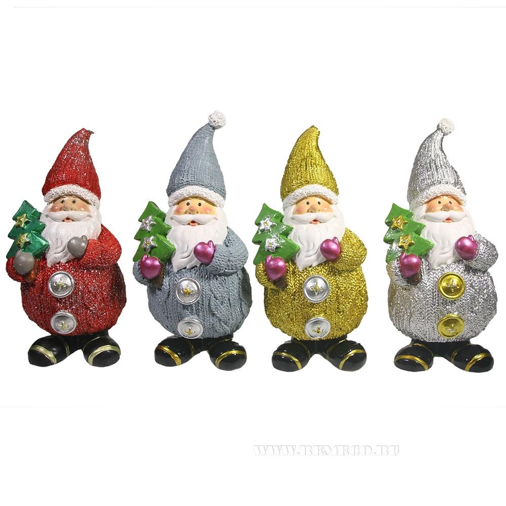 Фигурка декоративная Дед Мороз вязаный с ёлкой , L7W6H16,5 см, 4в. оптом
