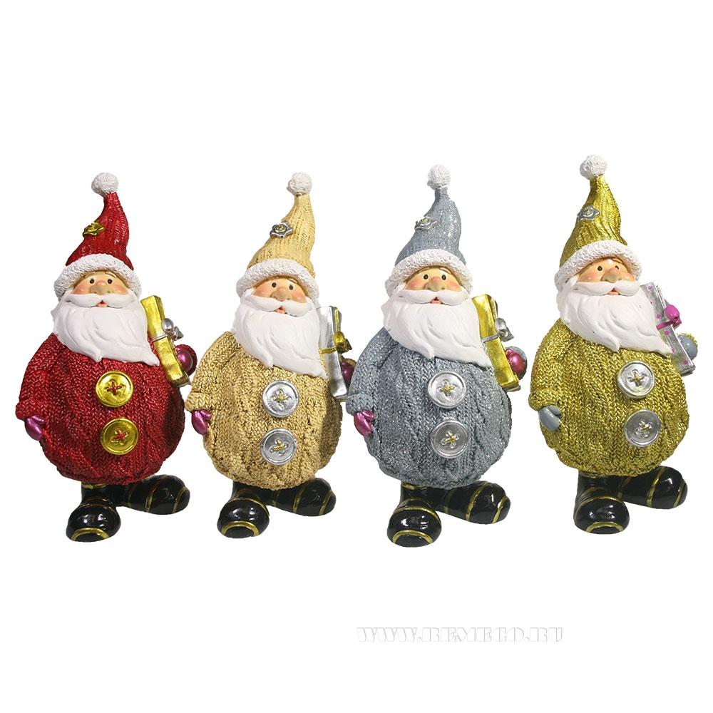 Фигурка декоративная Дед Мороз вязаный с подарком , L7W6H16,5 см, 4в. оптом