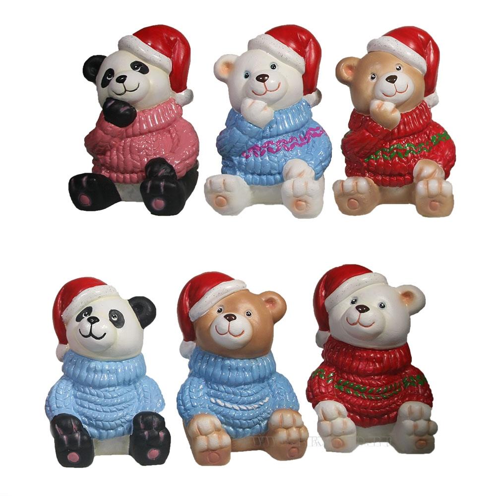 Фигурка декоративная Медвежонок в свитере и колпаке , L5,5W7H8,5 см, 6в. оптом
