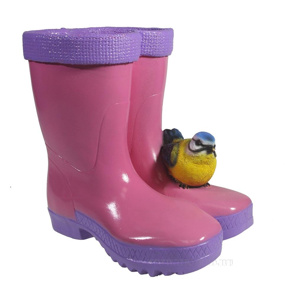 Кашпо декоративное Сапоги с птичкой (розовые), L17 W13 H18 см оптом