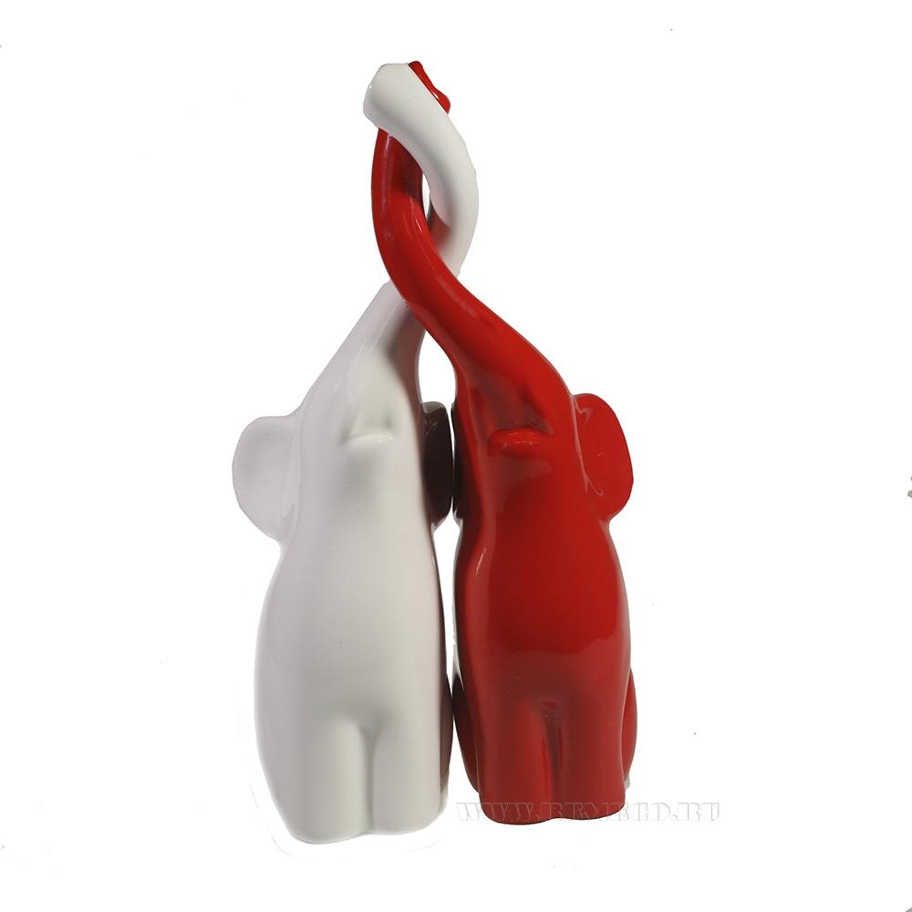 Фигура декоративная Пара слонов (белый+красный глянец) L9W14H26 оптом