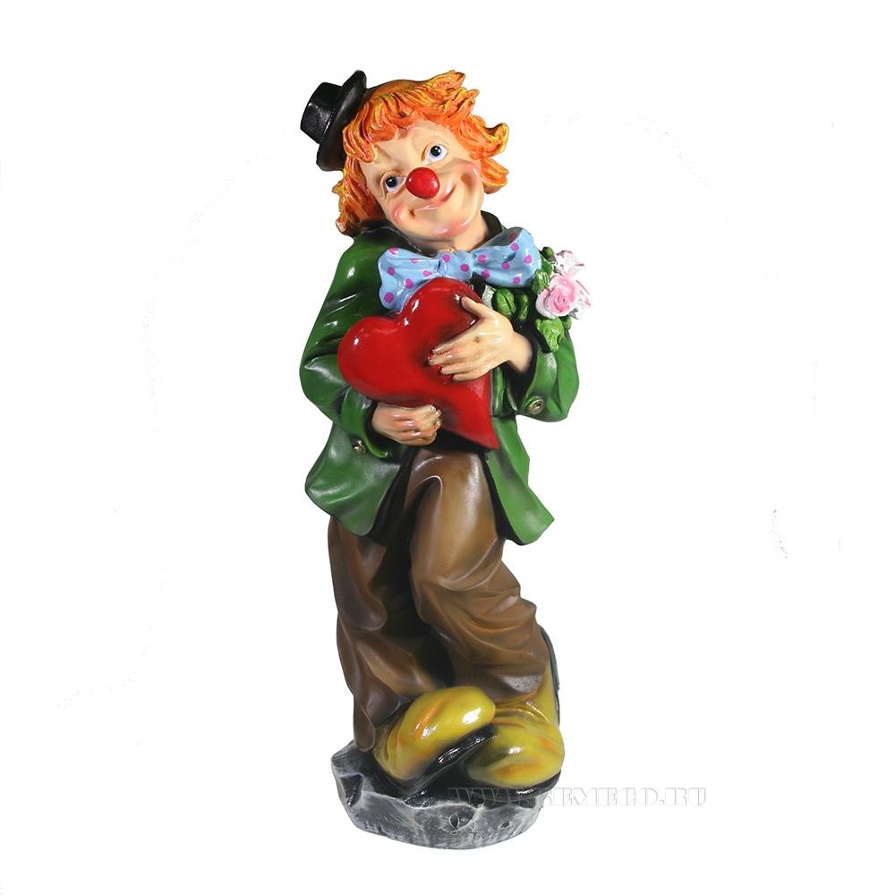 Фигура декоративная Клоун с сердцем , L12 W12 H35 см оптом