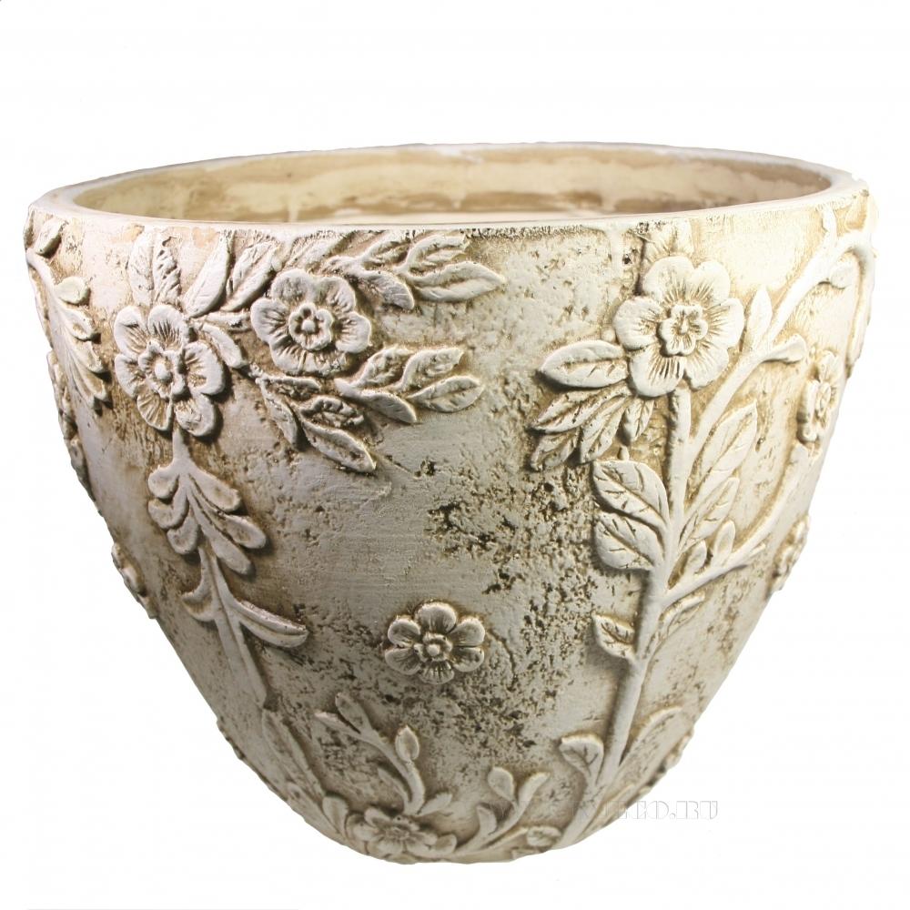 Кашпо декоративное Горшок украшенный цветами (антика) D36H26 оптом
